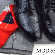 17 mod shoes loake black royals with prince of wales check trousers and red argyle socks