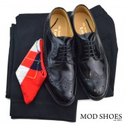 17 mod shoes loake royal black with black sta press and red argyle socks