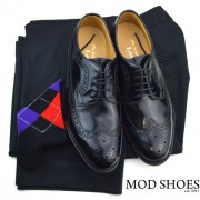 22 mod shoes loake royal black with black sta press and black aryle socks