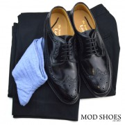 22 mod shoes loake royal black with black sta press and light blue socks