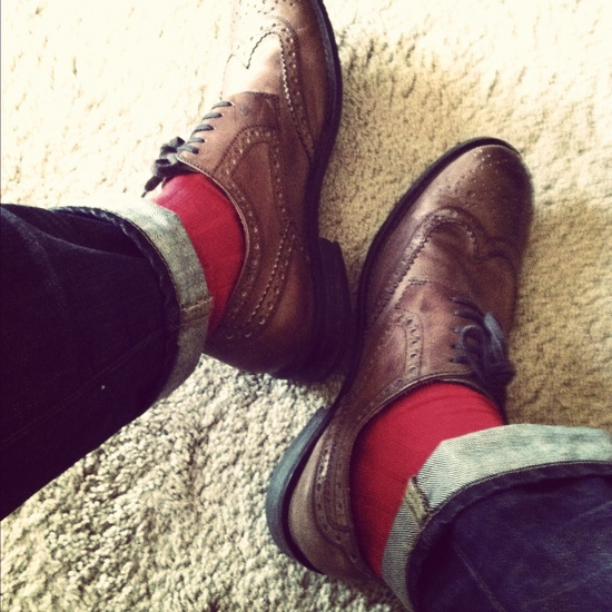 mod shoes red socks and brogues