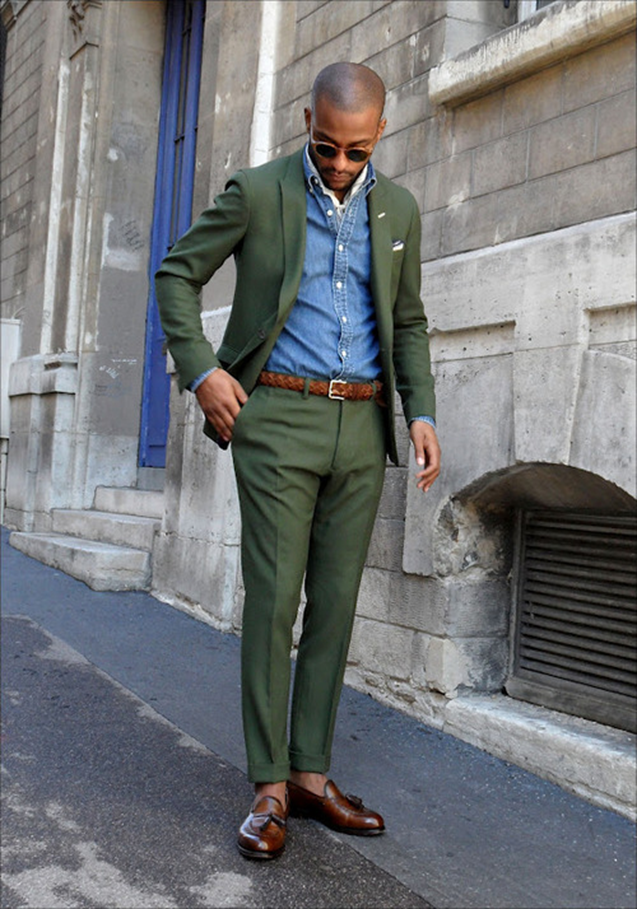 mod shoes Green-Suit-Denim-Shirt-Brown-Loafers