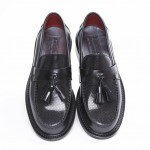 mod shoes black tassel loafers ACE-PUNCH-BLACK-1