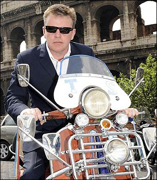 mod shoes suggs on a vespa scooter