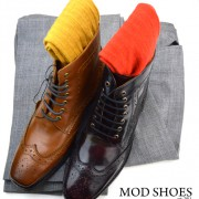 02 mod shoes landlside boots oxblood and tan with mustard and red socks