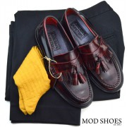12 mod shoes rudeboy oxblood tassel loafer black sta press and mustard socks