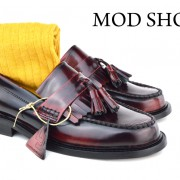 13 mod shoes Oxblood Tassel Loafers with mustard socks