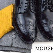 23 mod shoes loake black royals with prince of wales check trousers and mustard socks