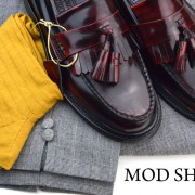 27 mod shoes rudeboy oxblood tassel loafer prince wales check trousers and mustard socks