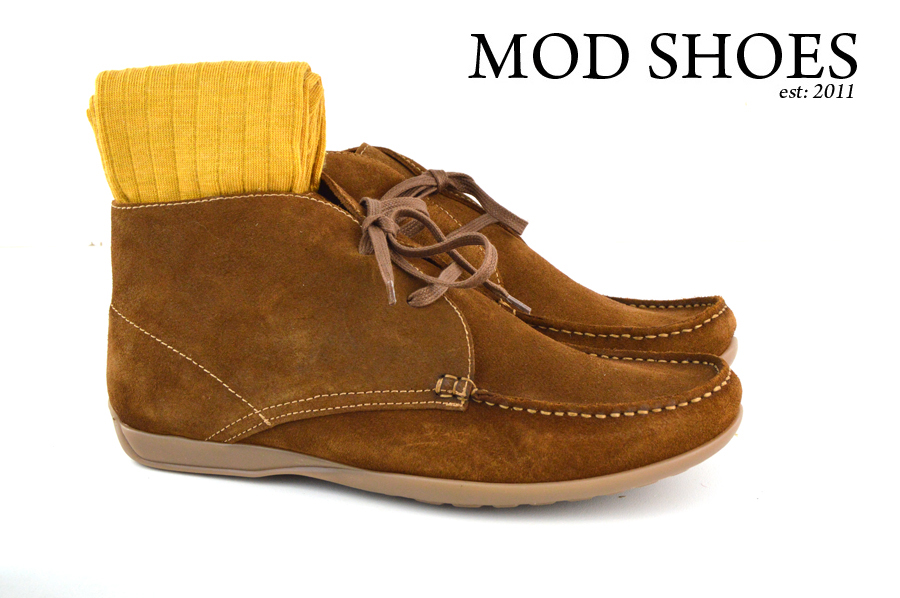 Mod Shoes Ellis Dark Brown Boots with mustard socks