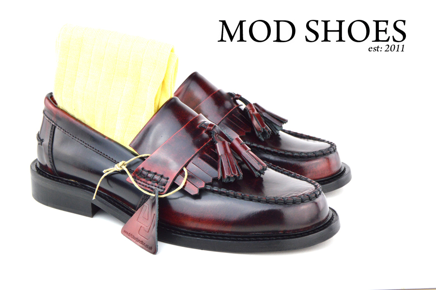 mod shoes Oxblood Tassel Loafers with Light Yellow Socks