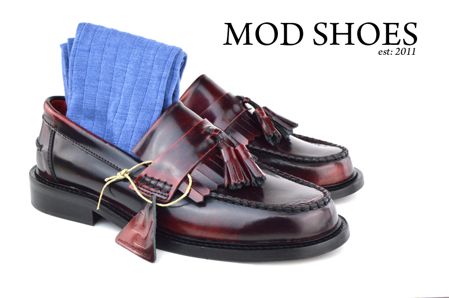 mod shoes Oxblood Tassel Loafers with blue socks