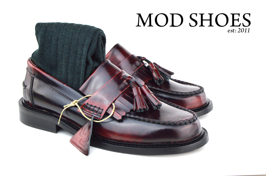 mod shoes Oxblood Tassel Loafers with dark green socks
