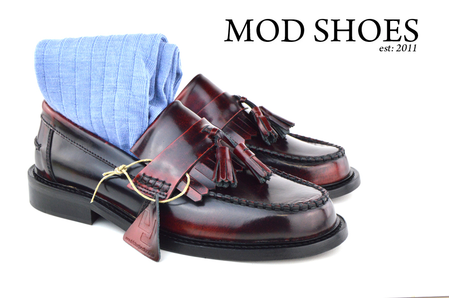 mod shoes Oxblood Tassel Loafers with light blue socks
