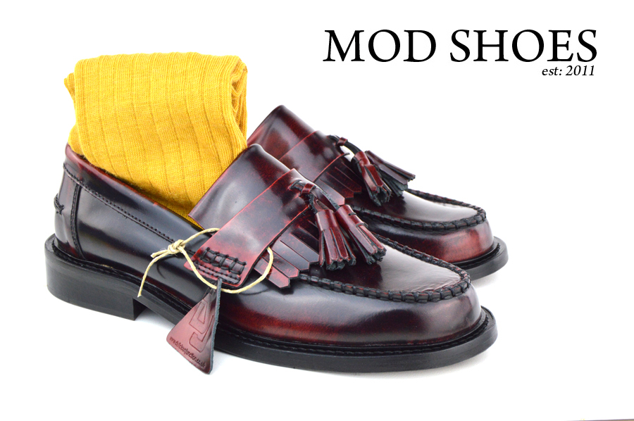 mod shoes Oxblood Tassel Loafers with mustard socks
