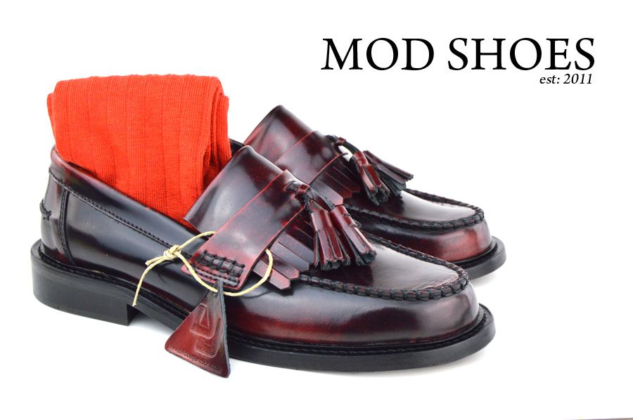 mod shoes Oxblood Tassel Loafers with red socks