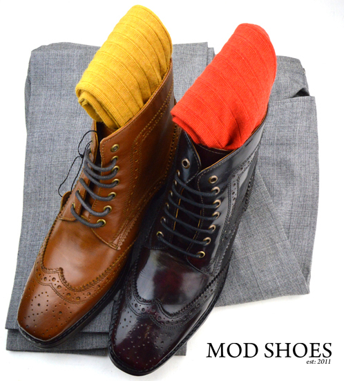 mod shoes landlside boots oxblood and tan with mustard and red socks