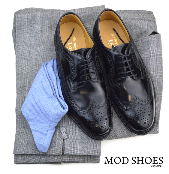 mod shoes loake black royals with prince of wales check trousers and blue socks (2)