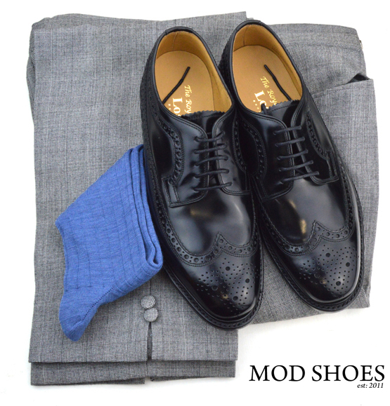 mod shoes loake black royals with prince of wales check trousers and blue socks