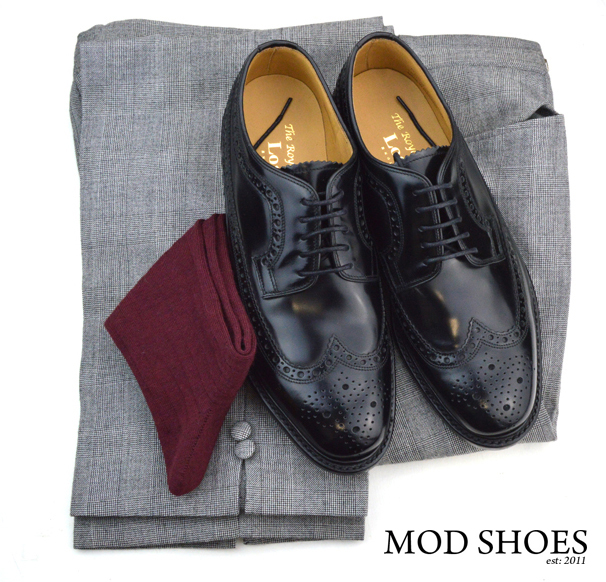 mod shoes loake black royals with prince of wales check trousers and burgundy socks 2