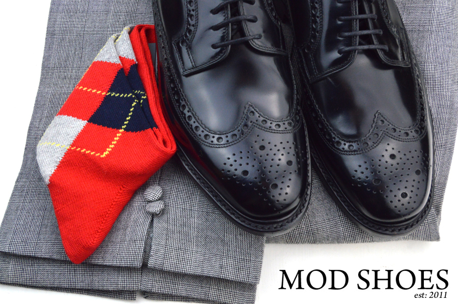 mod shoes loake black royals with prince of wales check trousers and red argyle socks