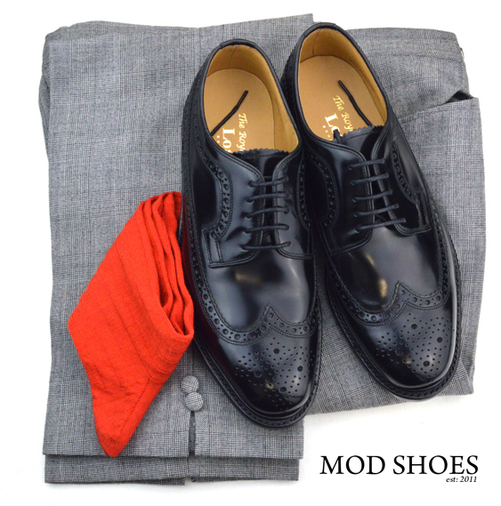 mod shoes loake black royals with prince of wales check trousers and red socks 2