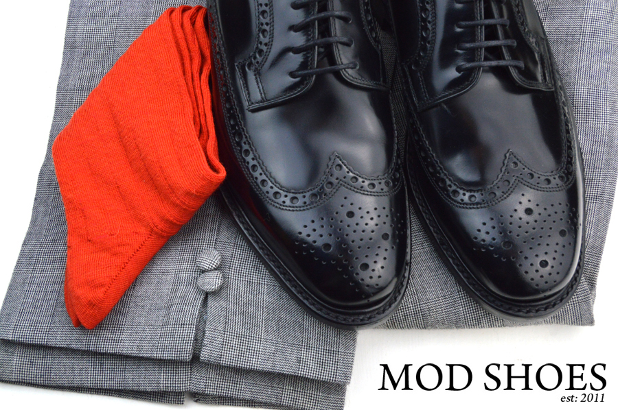 mod shoes loake black royals with prince of wales check trousers and red socks