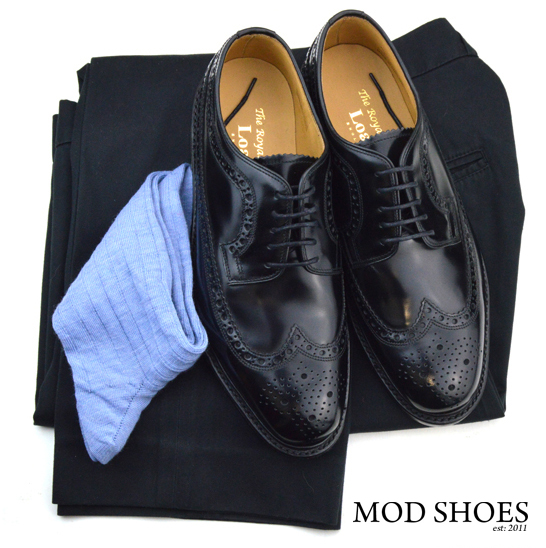 mod shoes loake royal black with black sta press and light blue socks