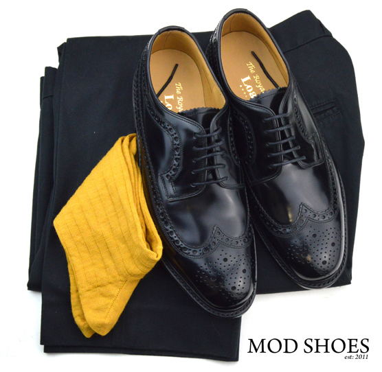 mod shoes loake royal black with black sta press and mustard colour socks