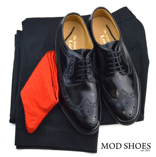 mod shoes loake royal black with black sta press and red socks