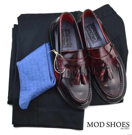 mod shoes rudeboy oxblood tassel loafer black sta press and blue socks