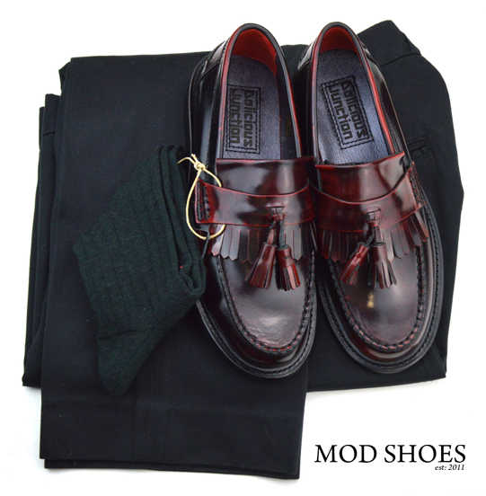 mod shoes rudeboy oxblood tassel loafer black sta press and dark green socks