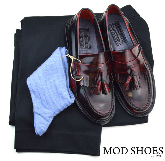 mod shoes rudeboy oxblood tassel loafer black sta press and light blue socks