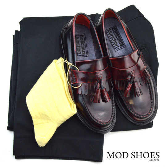 mod shoes rudeboy oxblood tassel loafer black sta press and light yellow socks
