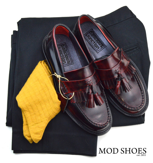 mod shoes rudeboy oxblood tassel loafer black sta press and mustard socks