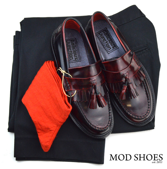 mod shoes rudeboy oxblood tassel loafer black sta press and red socks