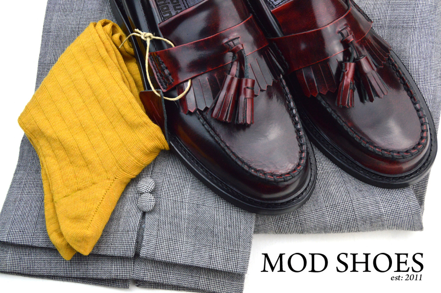mod shoes rudeboy oxblood tassel loafer prince wales check trousers and mustard socks