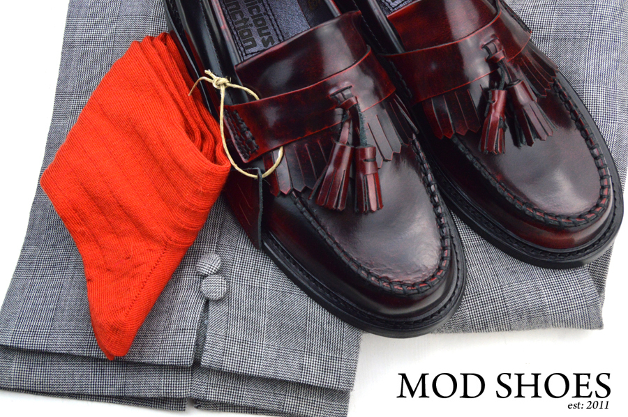 mod shoes rudeboy oxblood tassel loafer prince wales check trousers and red socks