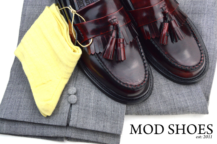 mod shoes rudeboy oxblood tassel loafer prince wales check trousers and yellow socks