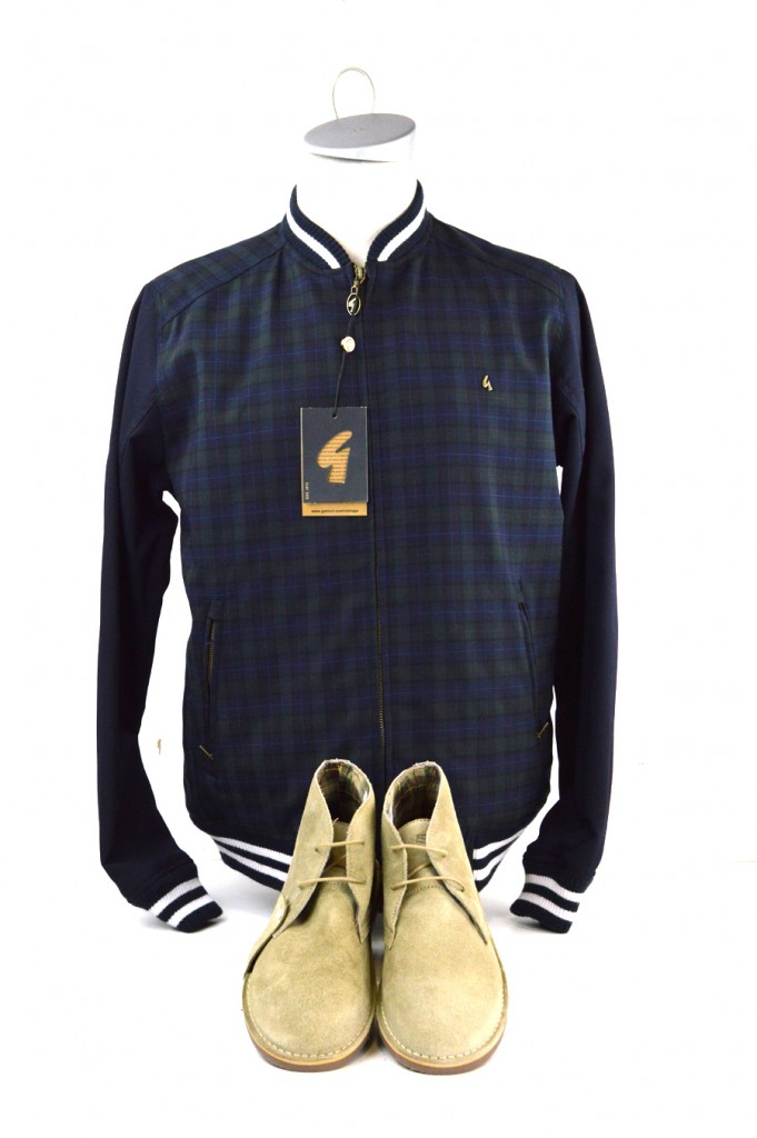 04 mod shoes desert boots with blue and green tartan jacket from gabicci