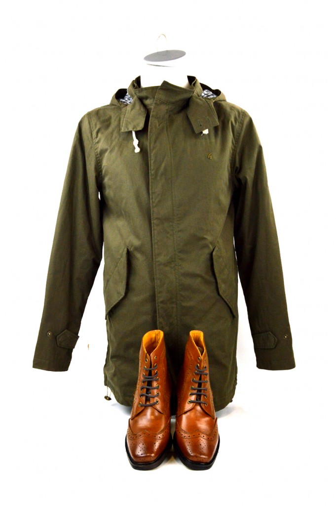 16 mod shoes tan brogue boots with green parka from gabicci