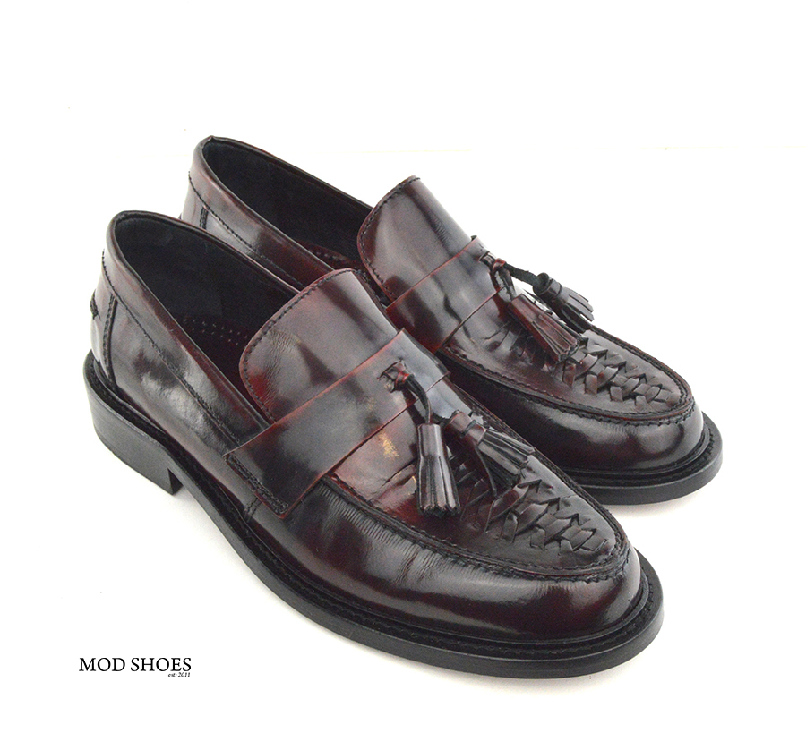 mod shoes basker weave tassel loafers pxblood burgundy allnighters 02