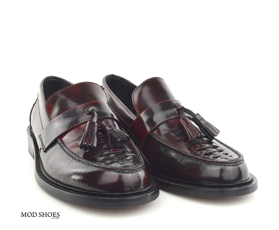 mod shoes basker weave tassel loafers pxblood burgundy allnighters 05