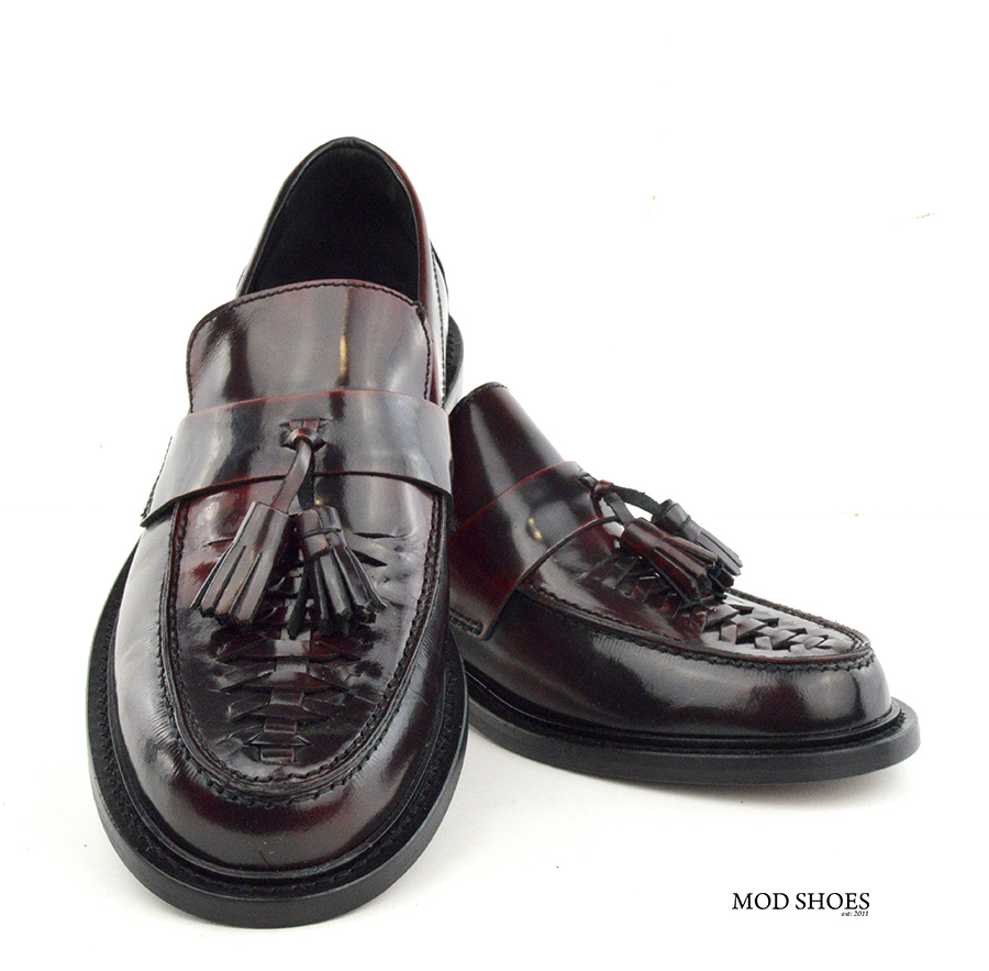 mod shoes basker weave tassel loafers pxblood burgundy allnighters 08