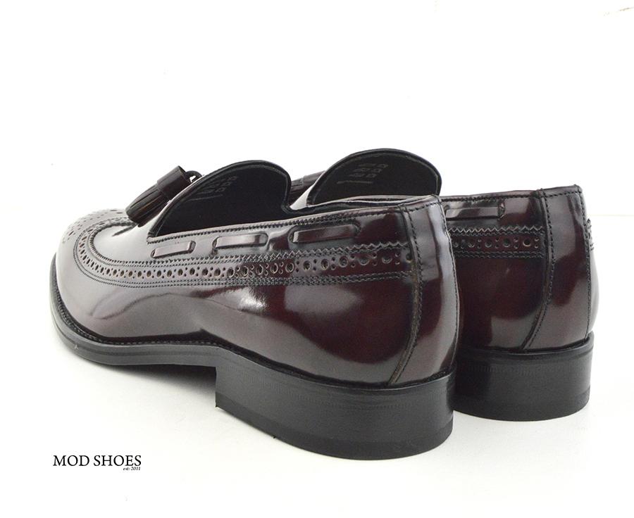 mod shoes beckley brogue tassel loafers oxblood burgundy 01