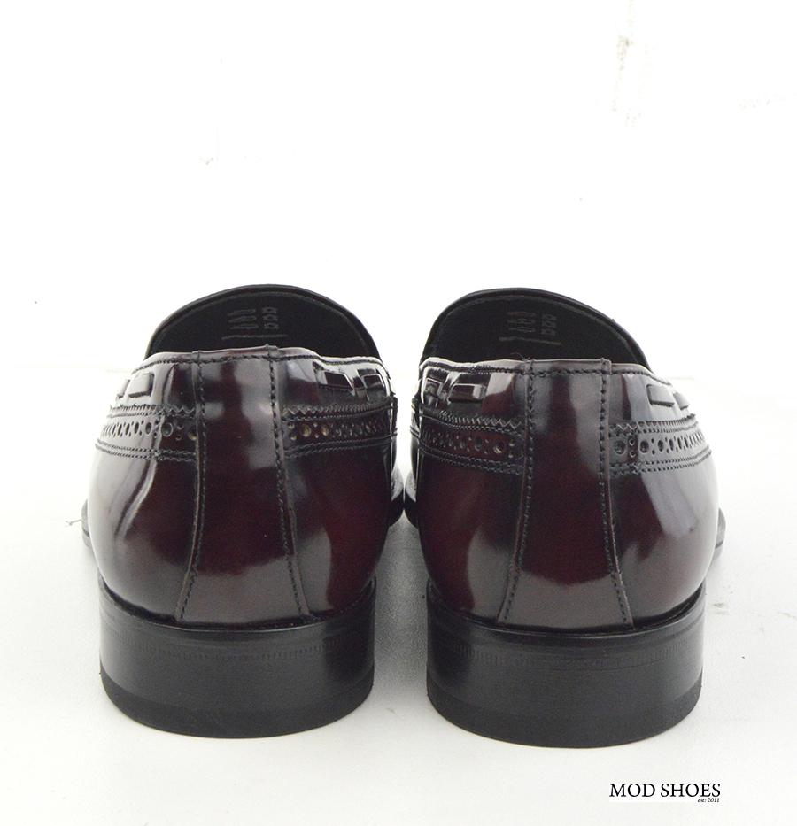 mod shoes brogue tassel loafers oxblood burgundy beckley 01