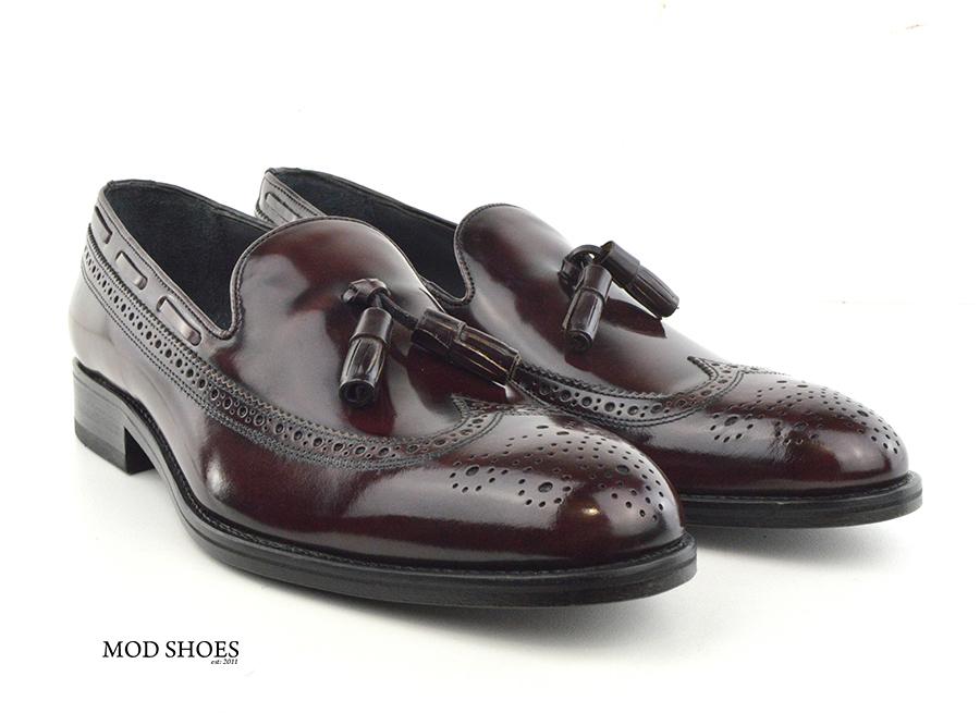 mod shoes brogue tassel loafers oxblood burgundy beckley 04