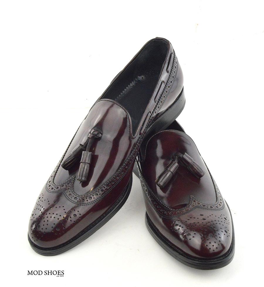 mod shoes brogue tassel loafers oxblood burgundy beckley 05