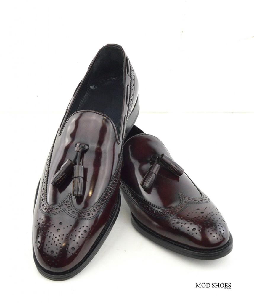 mod shoes brogue tassel loafers oxblood burgundy beckley 06