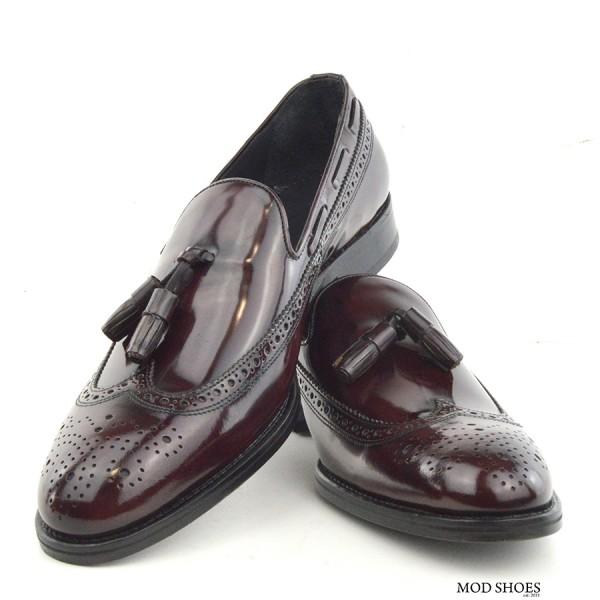 mod shoes brogue tassel loafers oxblood burgundy beckley 08